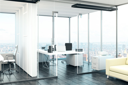 New office interior with panoramic city view and furniture. 3D Rendering