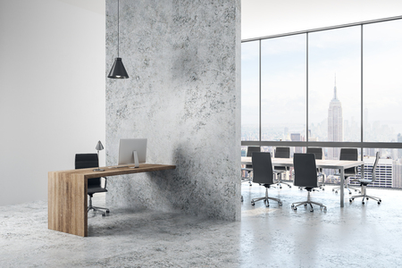 Bright concrete office interior with panoramic New York city view and daylight. 3D Rendering
