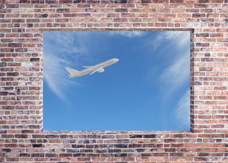 Brick wall with window and flying airpane on sky background view. Travel and cargo concept. 3D Rendering Banco de Imagens