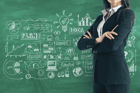 Attractive young european businesswoman with business sketch and folded arms on chalkboard background. Plan and development concept