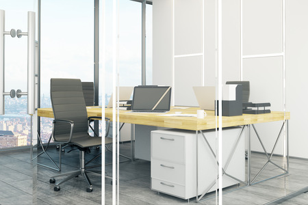 Daylit office interior with bright panoramic city view and daylight. Workplace concept. 3D Rendering