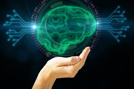 Hand holding abstract brain hologram on black background. Artificial intelligence and circuit concept. 3D Rendering