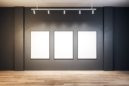 Contemporary exhibition hall interior with empty poster on wall. Mock up, 3D Rendering Stockfoto