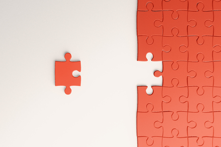 Creative orange missing puzzle background. Jigsaw and challenge concept. 3D Rendering 免版税图像 - 109323898