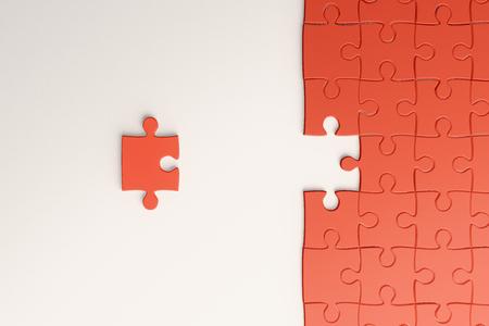 Kreativer orange fehlender Puzzle-Hintergrund. Puzzle- und Herausforderungskonzept. 3D-Rendering