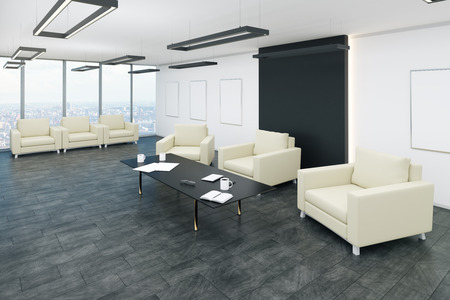 Modern office waiting area interior with panoramic city view, comfortable armchairs and coffee tables. 3D Rendering 스톡 콘텐츠