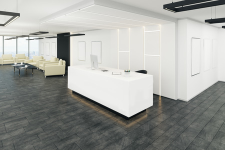 Contemporary office lobby interior with reception desk. 3D Rendering Stockfoto - 109323902