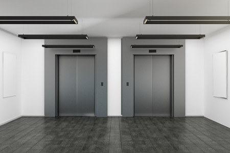 Modern interior with elevator and empty posters. Mock up, 3D Rendering Imagens - 110454905