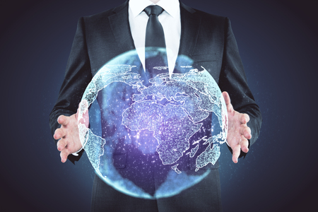 Businessman holding creative glowing globe on blue background. Communication and travel concept. 3D Rendering Stok Fotoğraf - 110388237