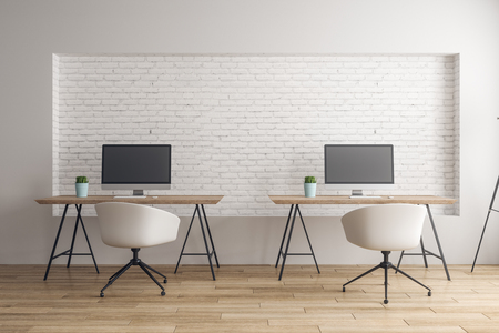 Modern coworking office interior with empty computers and daylight. Mock up, 3D Rendering