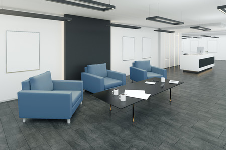 Creative office waiting area interior with comfortable armchairs and coffee tables. 3D Rendering