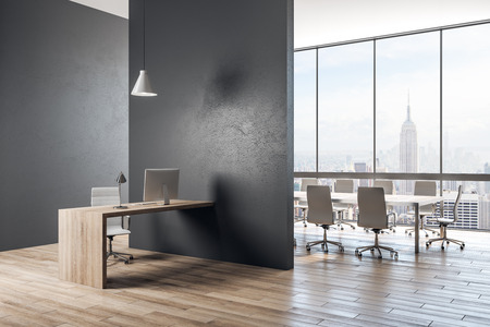 Contemporary concrete office interior with panoramic New York city view and daylight. 3D Rendering