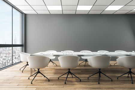 Contemporary meeting room interior with furniture, panoramic city view and daylight. 3D Rendering Reklamní fotografie