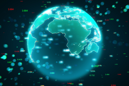 Creative blurry globe with hacked interface. Global communication and phishing concept. 3D Rendering