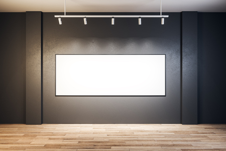 Contemporary exhibition hall interior with empty billboard on wall. Mock up, 3D Rendering