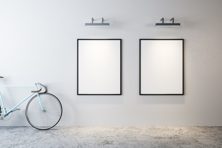 Modern interior with bicycle and empty poster on wall. Hipster design concept. Mock up, 3D Rendering Stock fotó