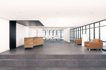 White lobby interior with reception desk. Office concept. 3D Rendering