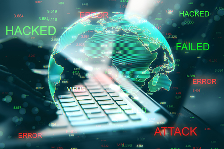 Close up of hacked laptop with globe. Malware and theft concept. Double exposure Stock Photo