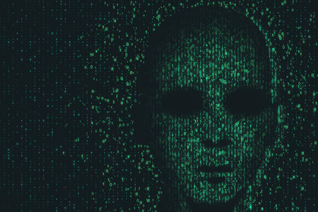 Hack and theft concept. Hacker face on abstract dark binary code background. 3D Rendering Stock Photo