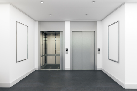 Modern interior with lift and empty posters. Mock up, 3D Rendering