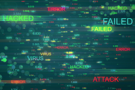 Abstract hacked background. Error and malware concept. 3D Rendering