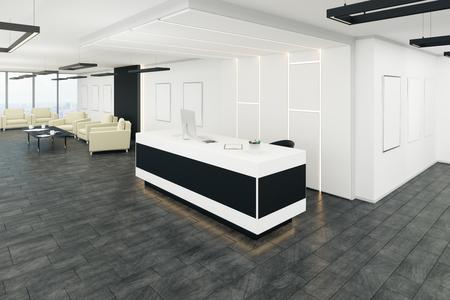 Modern office lobby interior with reception desk. 3D Rendering Banco de Imagens
