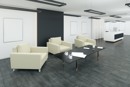 Modern office waiting area interior with comfortable armchairs and coffee tables. 3D Rendering 스톡 콘텐츠