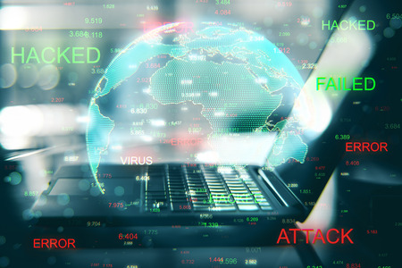 Close up of hacked laptop with globe. Malware and phishing concept. Double exposure Stock Photo