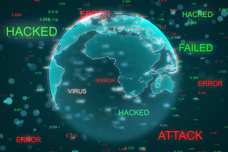Creative blurry globe with hacked interface. Global communication and malware concept. 3D Rendering Stock Photo