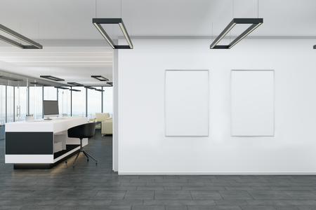 White lobby interior with empty poster. Mock up, 3D Rendering