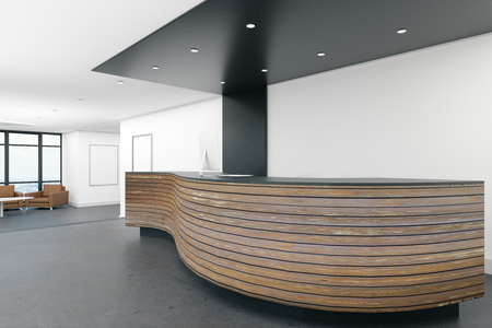 Contemporary lobby interior with reception desk. Office concept. 3D Rendering