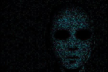 Hack and data concept. Hacker face on abstract dark binary code background. 3D Rendering