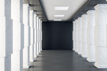 Bright concrete tunnel interior. Futuristic design and accomodation concept. 3D Rendering