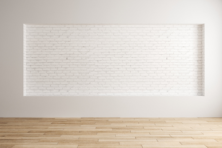 Contemporary interior design with empty brick wall and wooden floor. Mock up, 3D Rendering