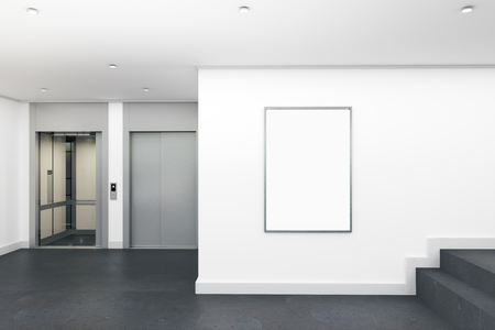 Modern lobby interior with empty poster and elevator. Mock up, 3D Rendering