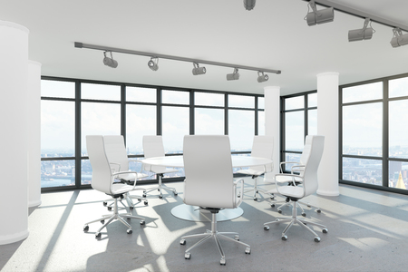 Modern conference room interior with furniture, city view and daylight. 3D Rendering