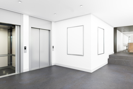 Modern office lobby interior with elevators and empty poster. Mock up, 3D Rendering Stock Photo