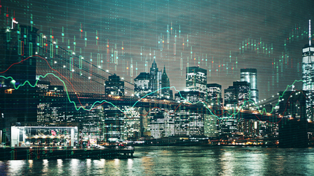 Illuminated New York night city background with upward forex chart. Trade and investment concept. Double exposure