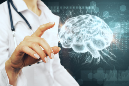 Female doctor hand pointing at glowing brain interface. Artificial intelligence and medicine concept. 3D Rendering