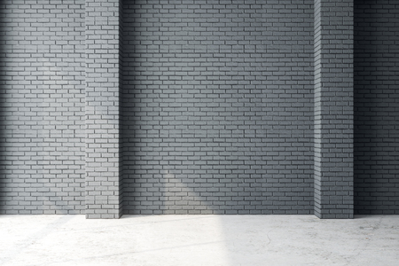 Contemporary interior with empty brick wall and sunlight. Mock up, 3D Rendering Stock fotó