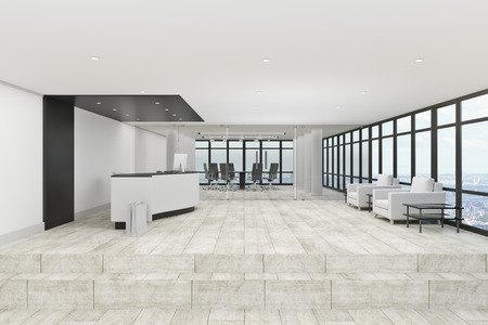 Contemporary office lobby interior with reception desk. Entrance concept. 3D Rendering