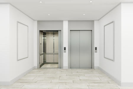 Modern office lobby interior with elevators and empty billboard. Mock up, 3D Rendering