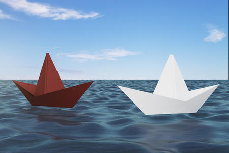 Origami ship on blue water. Leadership and journey concept. 3D Rendering Foto de archivo - 112752510
