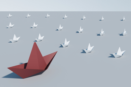 Leadership and success concept. Creative origami shipboat background. 3D Rendering Stock Photo