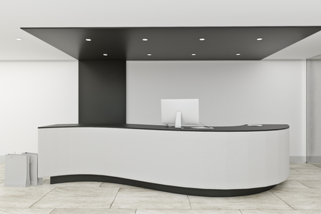 Stylish office lobby interior with reception desk. Entrance concept. 3D Rendering 스톡 콘텐츠