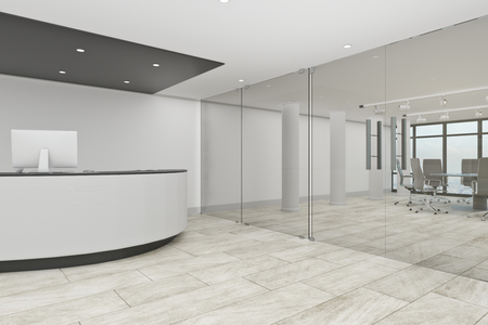 White office lobby interior with reception desk. Entrance concept. 3D Rendering