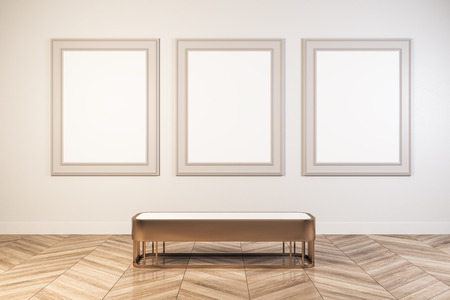 Bright white gallery interior with empty poster and seatbench. Museum and art concept. Mock up, Rendering Stok Fotoğraf