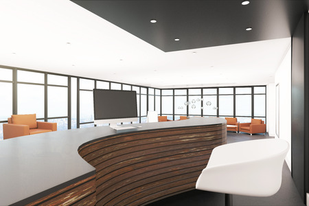 Office lobby interior with reception desk. Entrance concept. 3D Rendering Stock Photo