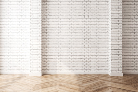 Clean interior with empty brick wall and sunlight. Mock up, 3D Rendering Stock fotó