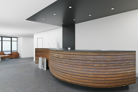 Clean lobby interior with reception desk. Office waiting area concept. 3D Rendering